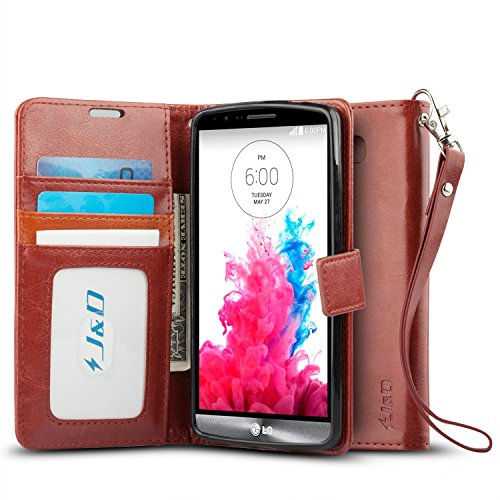 LG G3 Case, J&D [Stand View] LG G3 Wallet Case [Slim Fit] [Stand Feature] Premium Protective Case Wallet Leather Case for LG G3 (Brown)