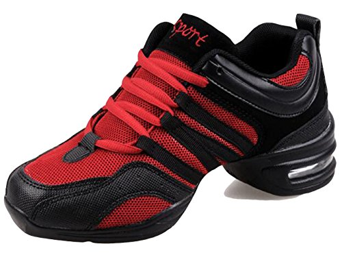 8 Jazz Modern Dance Mesh BlackRed Shoes amp; Plaform Up Size Womens GFONE Lightweight 5 Breathable Air Lace Trainers 3 8WATvq