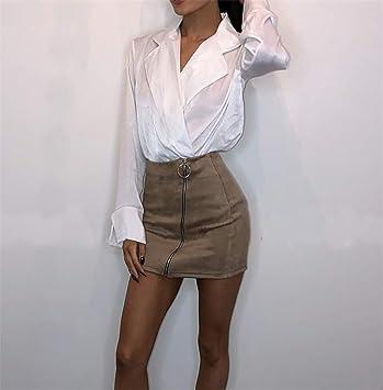 QBXDQ Falda Corta Cintura Alta Mini Faldas Cortas Mujer Mujer ...