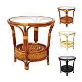 Cheap Pelangi Coffee Round Table Handmade ECO Natural Rattan Wicker with Glass Top, Colonial