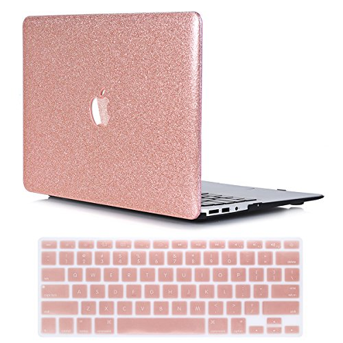PapyHall Bling Bling Glitter Rubberized Coated Plastic Case & Keyboard Cover for 2018/2017/2016 Release Macbook Pro 13 inch with Touch Bar Model: A1706/A1989 ST-Rosegold
