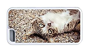 Cute iphone 5C sparkle cover Cat face eyes pebbles TPU White for Apple iPhone 5C
