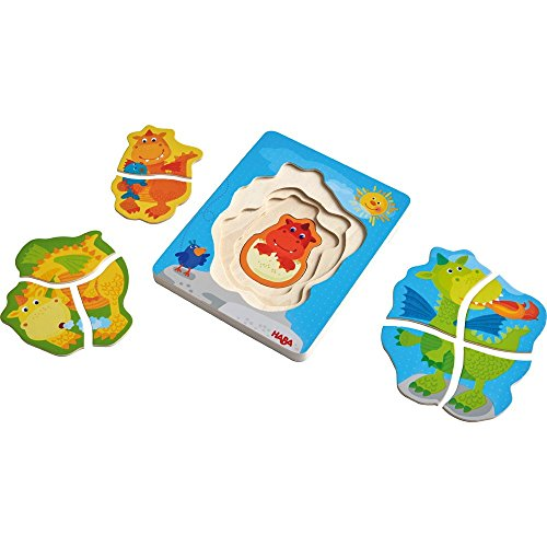 HABA Wooden Puzzle Darling Dragons with Four Layers of Silly Dragons - 10 Pieces in All - Ages 2 and Up ()