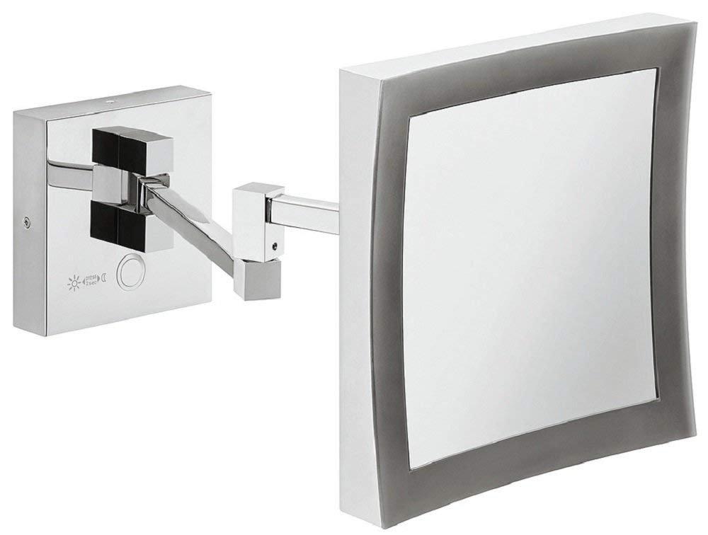 Gedotec Badezimmer-Spiegel LED-Beleuchtung Kosmetikspiegel chrom poliert Bad-Spiegel mit Lampe   inkl. 5-fach-Vergrößerung   H1050   1 Stück