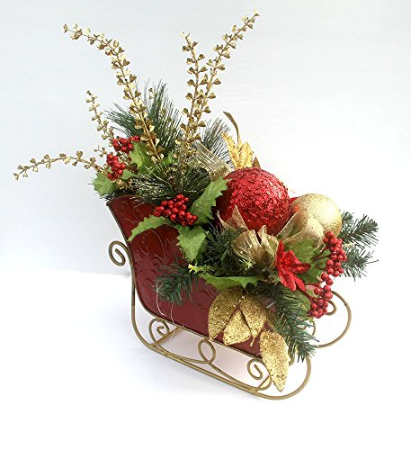 Christmas centerpiece in metal sleigh, Red and Gold