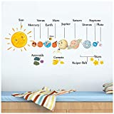 HAOKHOME W-10801 Wall Decal Planet Wall Sticker The Solar System for Kids Room Bedroom Living Room Home Decor