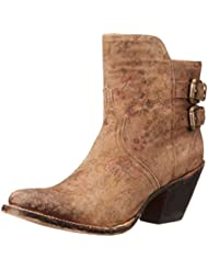 Lucchese Bootmaker Womens Catalina-Brown Floral Printed Shortie Ankle Bootie