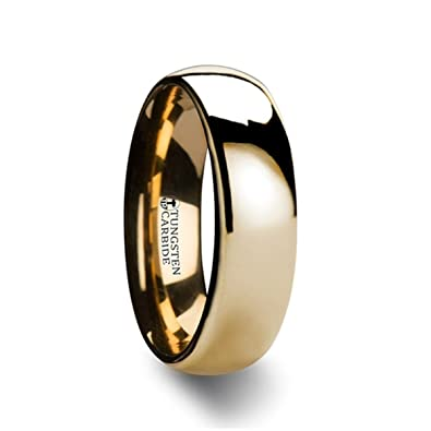 Thorsten ORO | Tungsten Rings for Men | Tungsten | Comfort Fit |  Traditional Domed Gold Tungsten Carbide Wedding Ring Band - 8mm