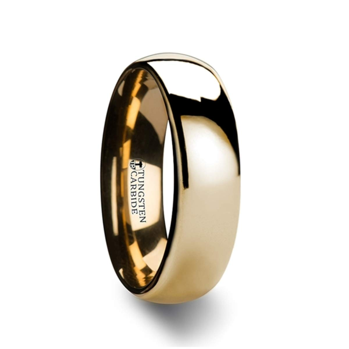 ORO Traditional Domed Gold Plated Tungsten Carbide Wedding Ring - 6mm & 8mm