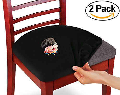 Protective Chair Covers (Kleeger Chair Covers Protective & Stretchable: Fits Round And Square Chairs. For Kids, Pets, Set Of 2 (Black))