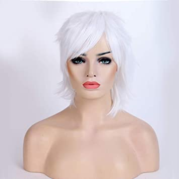 Amazon.com   Short Fluffy Anime Wig For Women and Men Unisex Halloween  Costume Wig white + One elastic wig net for free   Beauty a7fe1f7f9c