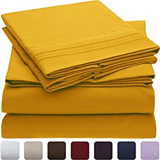 Mellanni Bed Sheet Set - Brushed Microfiber 1800 Bedding - Wrinkle, Fade, Stain Resistant - Hypoallergenic - 3 Piece (Twin XL, Canary Yellow) (B07BKR67PZ) | Amazon price tracker / tracking, Amazon price history charts, Amazon price watches, Amazon price drop alerts
