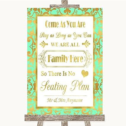 Letrero de boda de color verde menta y dorado con texto en ...