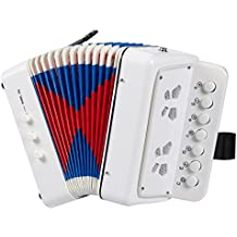 Accordion for Children - 7 Keys Kids Piano Accordion, Musical Instruments for Kids, Suitable for Beginners and Children, Includes Instruction Booklet, White, 6.77 x 4.016 x 6.73 Inches