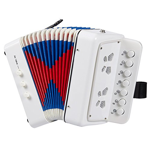 Juvale Accordion for Children - 7 Keys Kids Piano Accordion, Musical Instruments for Kids, Suitable for Beginners and Children, Includes Instruction Booklet, White, 6.77 x 4.016 x 6.73 Inches