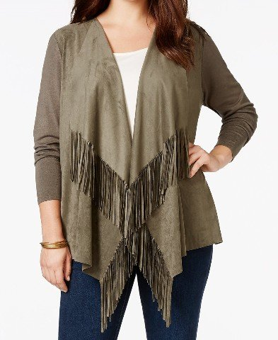 INC International Concepts Women's Fringe Faux-Suede Cardigan (0X, Olive Drab)