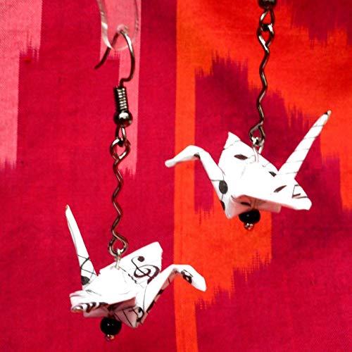 Pair of Origami Good Luck Paper Crane Black White Dangle Earrings,Sheet Music Jewelry, Musician Gift