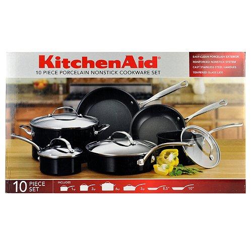 KitchenAid 10 Piece Nonstick Porcelain Cookware Set - Black