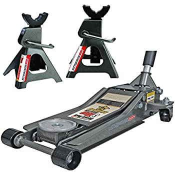 Pittsburg 3 Ton Low Profile Floor Jack and Jack Stands Set Combo with Rapid Pump Quick Lift