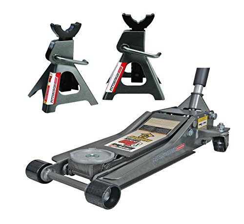 Pittsburg 3 Ton Low Profile Floor Jack and Jack Stands Set Combo with Rapid Pump Quick Lift (Jack Floor Profile Low Car)