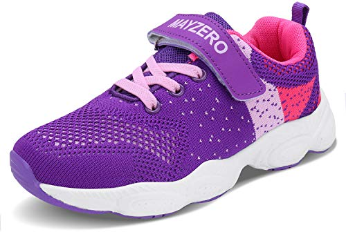 Lingmu Girl's Boys Fashionable Running Shoes Kid Breathable Non-Slip Tennis Shoes Outdoor Sports Shoes Children's (Toddler/Little Kid/Big Kid) Purple (Best Running Shoes For Children)