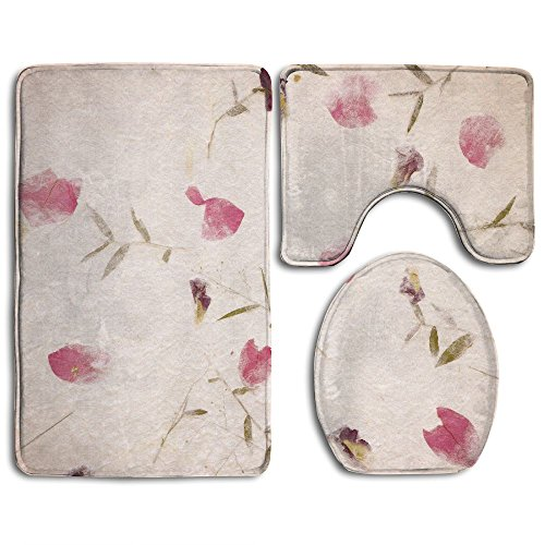 HanSmallT Mulberry Paper Background White Non Slip 3 Piece Bathroom Mat Pedestal Rug + Lid Toilet Cover + Bath Mat Customized Artwork (Lavender Mulberry Paper)