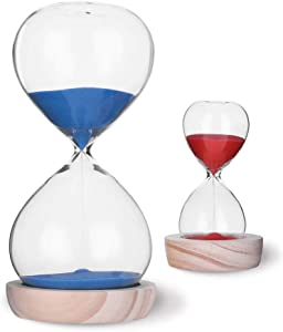 VISEMAN Hourglass Sand Timer Set-30 Minute & 5 Minute Timer Sets-Sand Clock Timers for Room Kitchen Office Decor -Time Management Tool with Wooden Base Stand