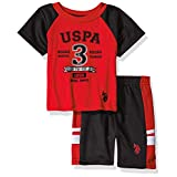 U.S. Polo Assn. Baby Boys' Sleeve T-Shirt and Mesh Short Set, Red P005140RRV, 3/6 Months