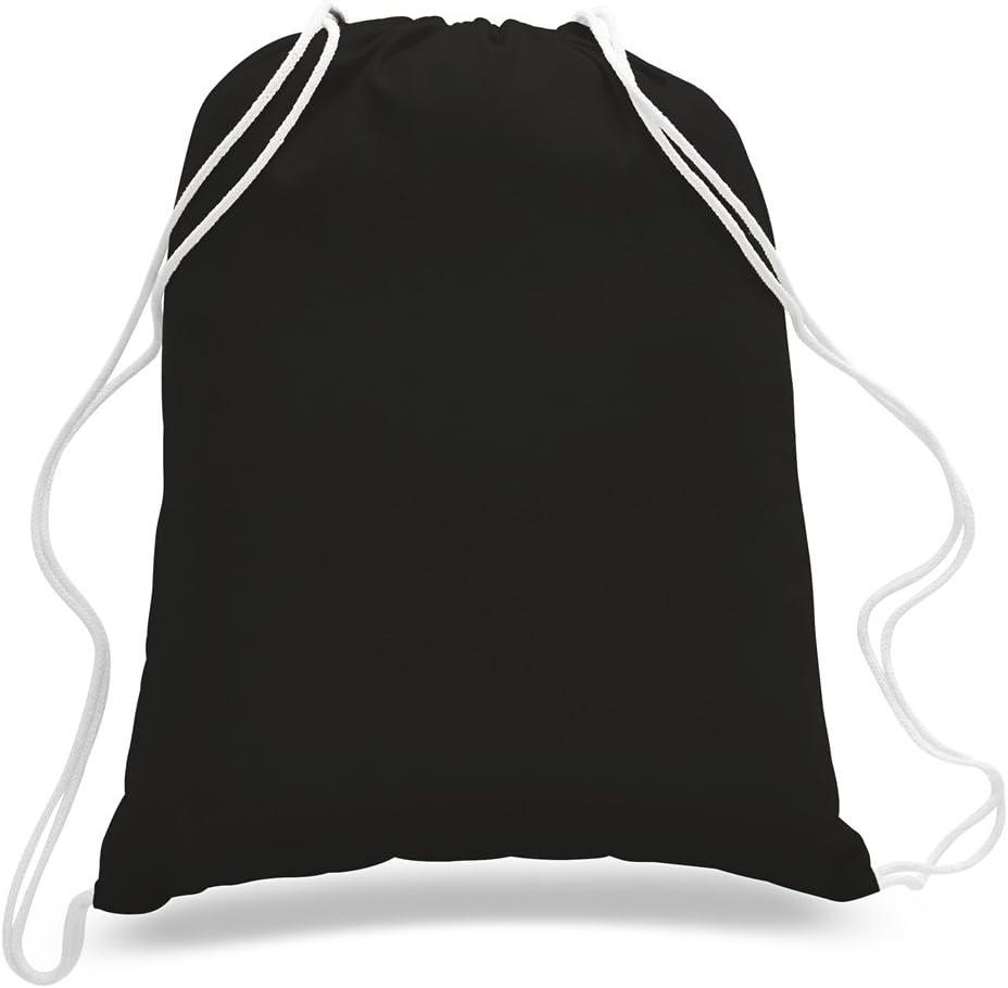 (12 Pack) 1 Dozen- Durable Cotton Drawstring Tote Bags (Black)