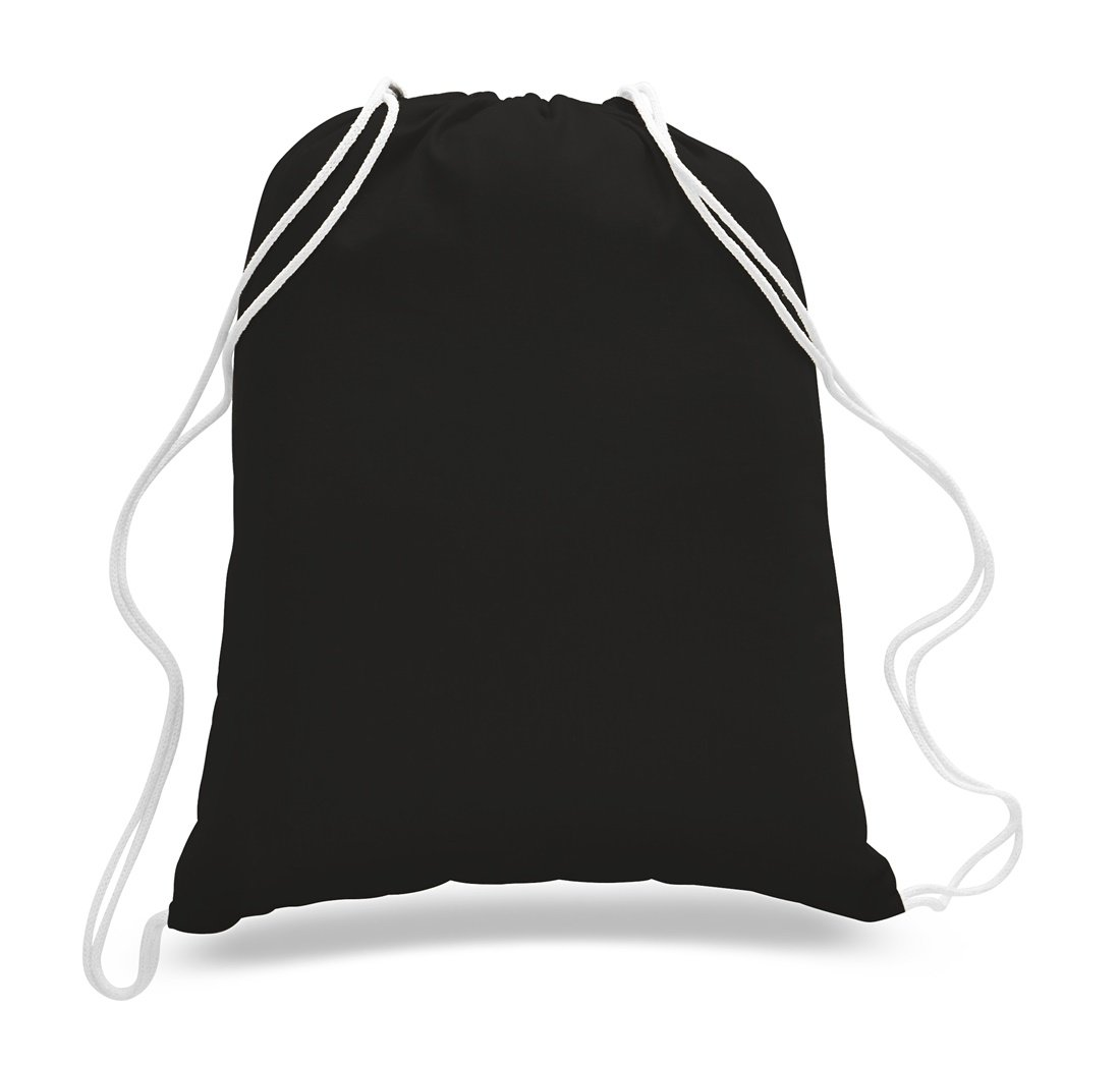 (12 Pack) 1 Dozen- Durable Cotton Drawstring Tote Bags (Black) by TBF