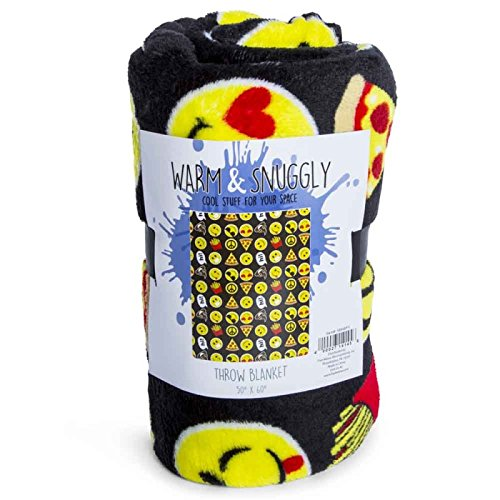 Warm and Snuggly emoji smile face icon plush blanket 50in x 60in travel throw
