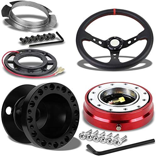 """350MM 3"""" Black Tri-Spoke/Red Stripe Steering Wheel+Black 6-Hole Hub Adapter+Red Quick Release For 240SX/Sentra"""