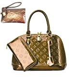 Zzfab Fashion Shell Purse and Wallet Set Gold Brown