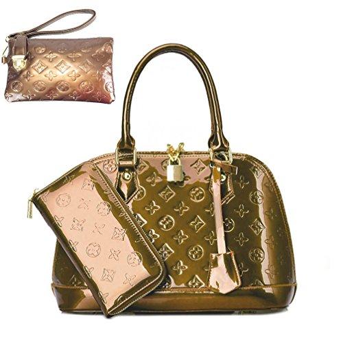 Zzfab Fashion Shell Purse and Wallet Set Gold Brown (Louis Vuitton Replica Handbags)