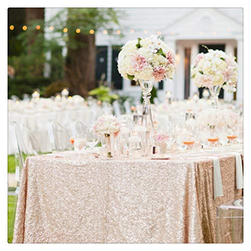 SoarDream Sequin Tablecloth 50x80 inch Champagne Blush Glitter Tablecloth Wedding Table Linen]()