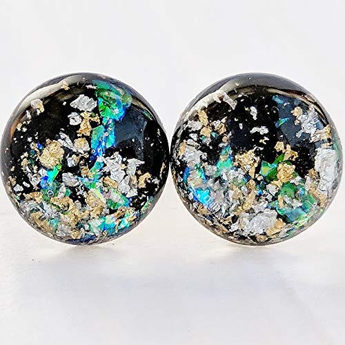 Bright Galaxy Bubble Earrings - 12mm - Hypoallergenic Silver Plated Posts
