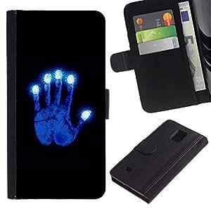 Paccase / Billetera de Cuero Caso del tirón Titular de la tarjeta Carcasa Funda para - Glowing Blue Hand - Samsung Galaxy Note 4 SM-N910