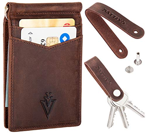 Men's Leather RFID Money Clip Slim Wallet with Leather Keychain (Coffee Brown, Crazy horse leather) (Money Clip Wallet Leather)