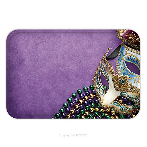 Mardi Gras Ball Wand (Flannel Microfiber Non-slip Rubber Backing Soft Absorbent Doormat Mat Rug Carpet Mardi Gras_184965642 for Indoor/Outdoor/Bathroom/Kitchen/Workstations)