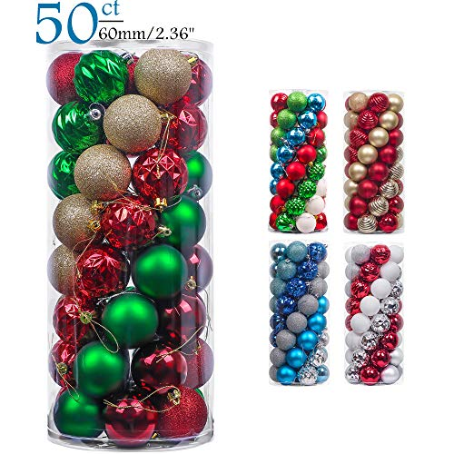 Teresas Collections 50ct 60mm Country Road Red Green Gold Shatterproof Christmas Ball Ornaments Decoration,Themed with Tree Skirt(Not Included)