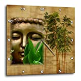 3dRose Religion - Image of Chinese Buddha Face With Bamboo - 13x13 Wall Clock (dpp_279884_2)