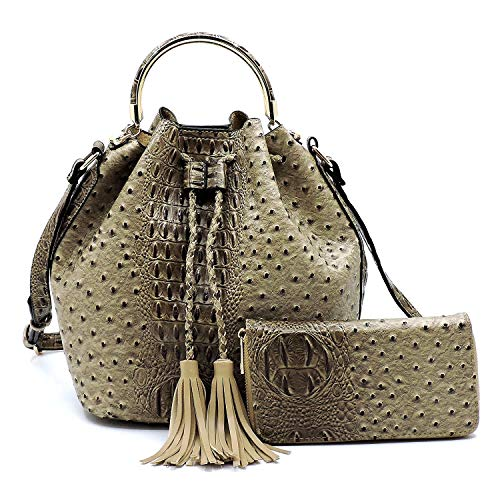 2 PC Set Ostrich Croco Embossed Vegan Faux Leather Cross body Bucket Handbag Purse with Matching Wallet (Taupe)