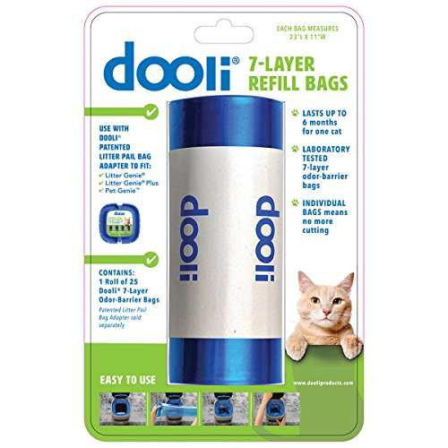 Litter Genie Compatible Bag Refills, 23 x 11 inches, Roll 25 Bags ()