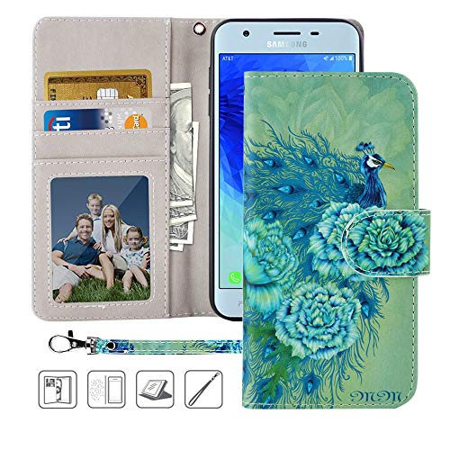 Galaxy J3 Achieve case,MagicSky Express Prime 3,Amp Prime 3 Wallet Case,PU Leather Folio Flip Case Cover with Wrist Strap,Card Holder,Pocket,Kickstand for Samsung Galaxy J3 2018-Green Peacock