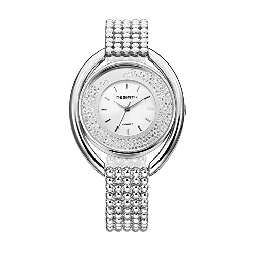 Top Plaza Women Ladies Elegant Casual Alloy Bracelet Watch Japanese Movement Luxury Rhinestones Waterproof Analog Quartz Bangle Cuff Watch (Silver) (Bracelet Quartz Watch Bangle)