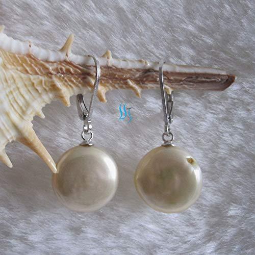 (FidgetKute 11-12mm Coin Freshwater Pearl Earrings Dangle Earrings D3S--More Colors Champagne )