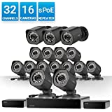 Zmodo 32 Channel 1080p HDMI NVR Surveillance System 16x720p Weatherproof sPoE Security Camera, w/Repeater for Flexible Installation, 24/7 Recording & Remote Monitoring