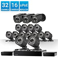 Zmodo 32 Channel 720P HD NVR Security System 16 x IP HD Outdoor/Indoor Video Surveillance Camera, w/sPoE Repeater for Flexible Installation & Extension, Customizable Motion Detection