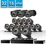 Zmodo 32 Channel NVR w/sPoE Repeater for Flexible Installation & Extension Need,16 x IP HD Outdoor Video Surveillance Camera Network Security System Business Solution, Customizable Motion Detection