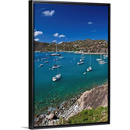 View of Sailboats in sea, Saint Barthelemy Black Floating Frame Canvas Art, 14